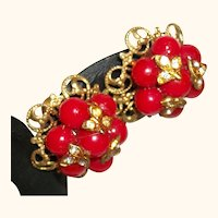 Vintage Red Glass Baubles and Rhinestones Earrings