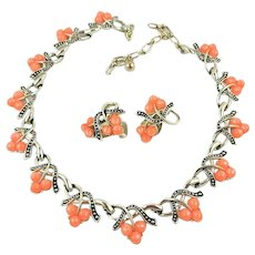Vintage Kramer Moonglow Thermoset Collar Necklace and Clip Earrings Set