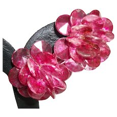 Vintage Fuchsia-Pink Lucite Clip Earrings