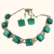 Vintage Coro Green Thermoset Squares Necklace & Earrings Make OFFER!