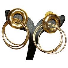 Vintage 80's Gold-plated Triple Hoops Pierced earrings