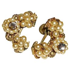 Vintage Late 50s Ear Climber Faux Pearl Cluster Earrings