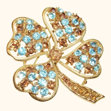 Vintage Four-Leaf Clover with Crystals Pin/Brooch