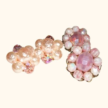 Vintage In The Pink Clip Earrings, Set of Two Pair