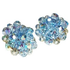 Vintage Powder Blue Crystals Cluster Clip Earrings