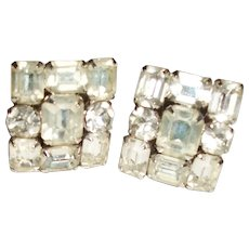 Vintage Weiss Crystal Squares Clip Earrings