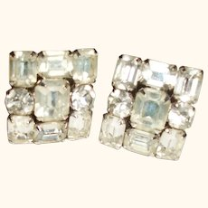 Vintage Weiss Crystal Squares Clip Earrings SALE!