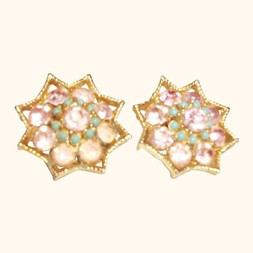 Vintage BSK Pink Crystal & Rhinestones  Clip Earrings