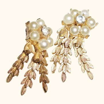 Vintage Faux Pearls and Rhinestones Dangle Earrings