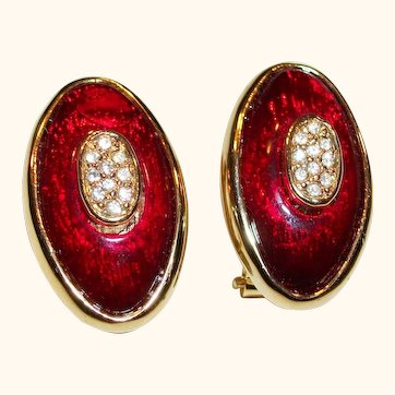 Vintage Red Enamel & Rhinestones Pierced-Post Earrings