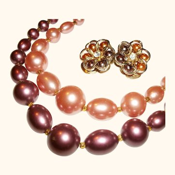 Vintage 2-Strand Peach and Brown Faux Pearls Necklace and Earrings