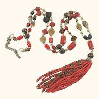 Vintage 1960's Long Deco Revival Glass, Lucite, & Stone Tassel Necklace MAKE OFFER!
