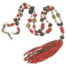 Vintage 1960's Long Deco Revival Glass, Lucite, & Stone Tassel Necklace