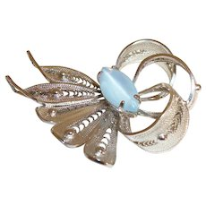Vintage Alice Caviness Blue Moonglow Butterfly Pin/Brooch