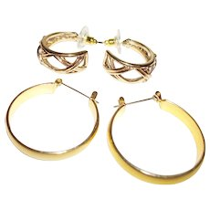 Vintage Hoop Style Earrings, Set of Two (2) Pair