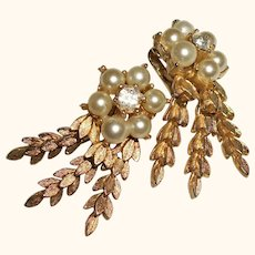 Vintage Sarah Coventry Faux Pearls and Dangles Clip Earrings