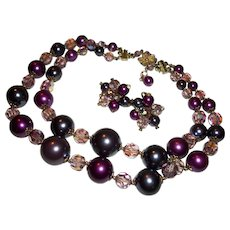 Vintage Vendome 2-Strand Shades of Purple Faux Pearls & Crystals Necklace Set