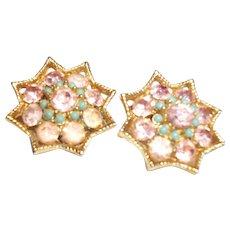 Vintage BSK Pink Crystal & Rhinestones  Clip Earrings