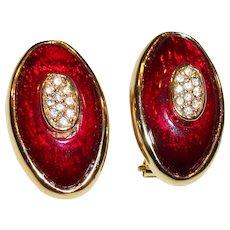 Vintage Red Enamel & Rhinestones Pierced-Post Earrings