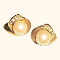 Vintage Faux Pearls & Rhinestones Post Earrings