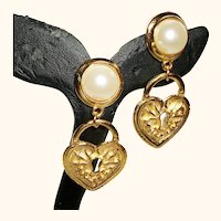 Vintage Heart Charms and Faux Pearls Post Earrings