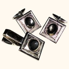 Vintage  Cabochon Cufflinks and Tie Bar Set SALE!
