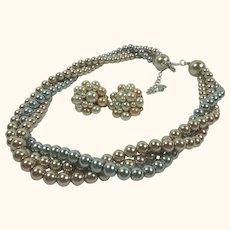Vintage 3-Strand Mixed Color Faux Pearls Necklace