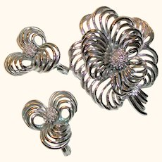 Vintage Monet Open Wire Pin/Brooch and Matching Earrings