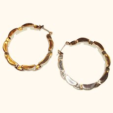 Vintage Large Textured Gold-plated Hoops Earrings