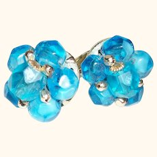 Vintage Bright Aqua-Blue Crystals and Silver Clip Earrings