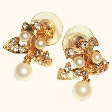 Vintage Rhinestones and Faux Pearls Dangles Post Earrings