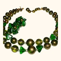 Vintage 2-Strand Marvella Signed 1950s Necklace Set