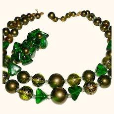 Vintage 2-Strand Marvella Signed 1950s Necklace Set