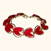 Vintage Thermoset Hearts Articulating Link Bracelet