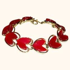 Vintage Thermoset Hearts Articulating Link Bracelet Make An OFFER!