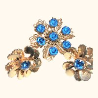 Vintage Faceted Blue Crystals Pin/Brooch and Earrings