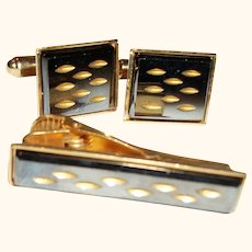Vintage Dotted Squares Cuff Links and Tie Bar Set SALE!