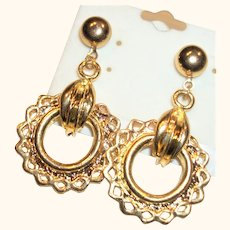 Vintage Shiny Gold-plated Open Ring Post Earrings