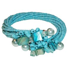 Vintage Memory Wire Bracelet With Mixed Glass and Pearl Focal