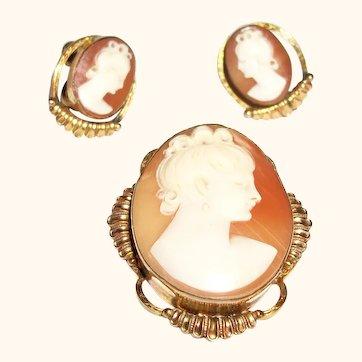 Vintage Van Dell Genuine Agate Faux Cameo Pin & Earrings Set