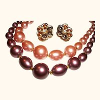 Vintage  Peach and Brown Faux Pearls Necklace