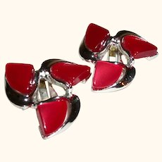 Vintage Red Thermoset Clip Earrings