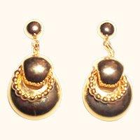 Vintage Golden Dangle Drops Pierced Earrings