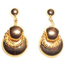 Vintage Golden Dangle Drops Pierced Earrings