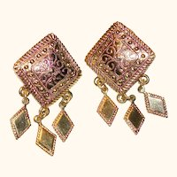 Vintage Triple Dangle Drops Pierced Earrings