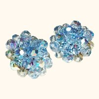 Vintage Blue Crystals Clusters Clip Earrings
