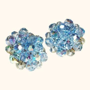 Vintage Blue Crystals Clusters Clip Earrings