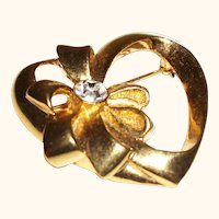 Vintage Open Heart with Bow Pin.Brooch