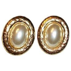 Vintage Carolee Faux Pearl Cabochon Clip Earrings