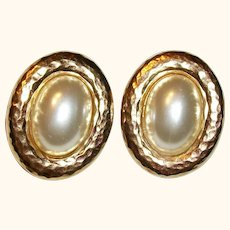 Vintage Carolee Faux Pearl Cabochon Clip Earrings